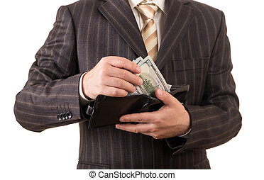 Successful businessman takes money from the wallet, isolated on white