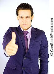 Successful businessman thumb up