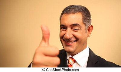 Successful businessman, thumbs up