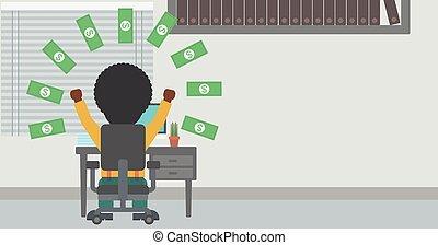 Successful businessman under money rain.