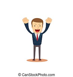 Successful businessman with arms up