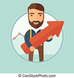 Successful businessman with arrow up.