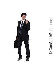 Successful businessman with briefcase