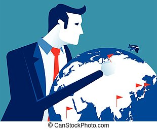 Successful businessman with globe. Concept business vector illustration.