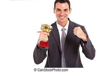 successful businessman with trophy