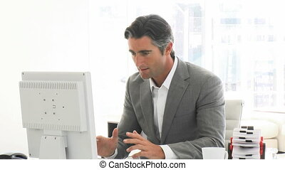 Successful businessman working at a