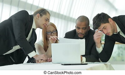 Successful businessmen discussing - Smiling businessman in a...