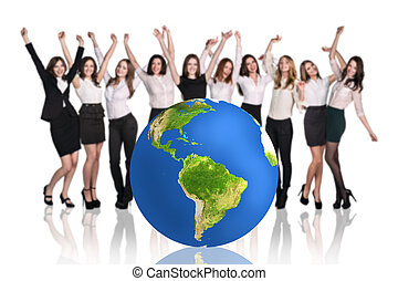 Successful businesspeople beside big earth ball. - Group of...