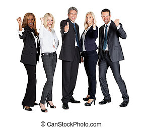 Successful businesspeople showing thumbs up