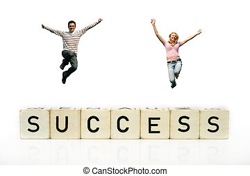 successful businessteam - a happy young team - couple is...