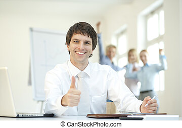 Successful Businessteam with thumbs up