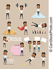 Successful businesswoman activities cartoon set