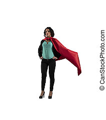 Successful businesswoman acts like a super hero. isolated on white background