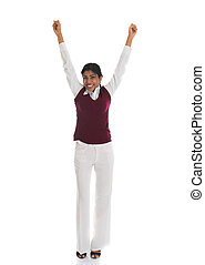 Successful businesswoman celebrates with her arms up in victory, isolated on white