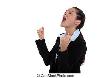successful businesswoman expressing her joy