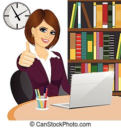 businesswoman making thumbs up gesture