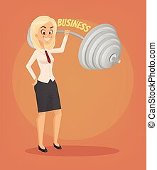 Successful businesswoman office worker character. Vector flat cartoon illustration