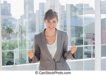 Successful businesswoman smiling at camera