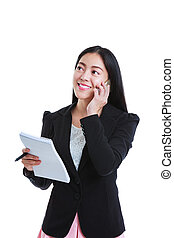 Successful businesswoman talking on the phone and holding note paper. Isolated on white background.