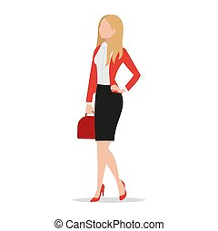 Successful businesswoman wearing black skirt and red blazer holding red handbag flat style icon isolated on white background, confident female executive standing, vector illustration.