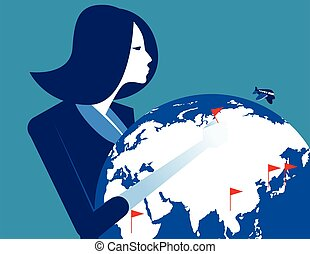 Successful businesswoman with globe. Concept business vector illustration.