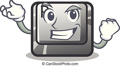 Successful button R isolated with the cartoon