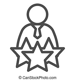 Successful candidate line icon. Man with tie and three stars outline style pictogram on white background. Best selected person for mobile concept and web design. Vector graphics
