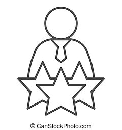 Successful candidate thin line icon. Man with tie and three stars outline style pictogram on white background. Best selected person for mobile concept and web design. Vector graphics