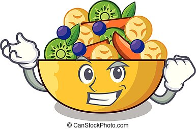 Successful cartoon bowl healthy fresh fruit salad