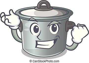 Successful cartoon cookware stock pot in kitchen vector...