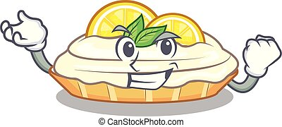 Successful cartoon lemon cake with lemon slice