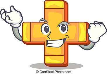 Successful cartoon plus sign logo concept health
