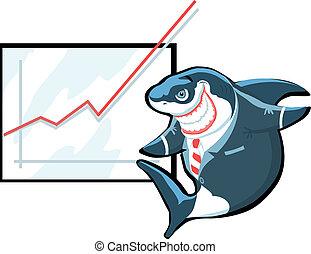 Successful cartoon shark in suit giving presentation