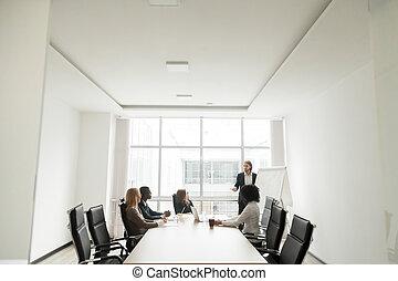 Successful caucasian businessman giving presentation in boardroo