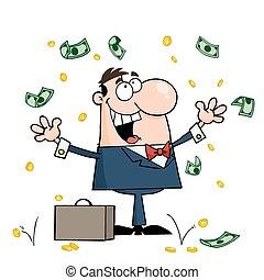 Successful Caucasian Businessman Standing Under Falling Money