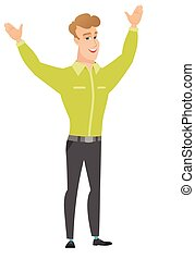 Successful caucasian businessman jumping. - Successful...