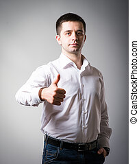 man holding his thumb up