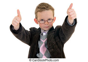Handsome successful young successful child making okay gesture, white background, studio shot.