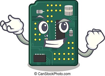 Successful circuit board pcb in cartoon shape vector...