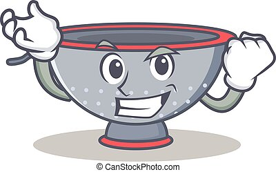 Successful colander utensil character cartoon vector...