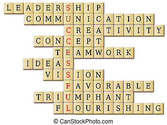 Successful crossword illustration of wood tiles with ...