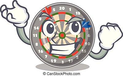 Successful dartboard in the shape of mascot