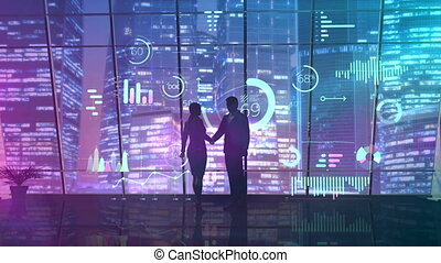 Successful deal and handshake on the background of the window.