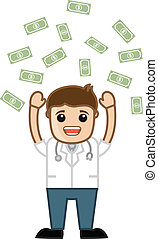 Drawing Art of Successful Doctor Standing in Money Rain Vector Illustration