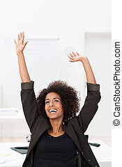 African American businesswoman rejoicing