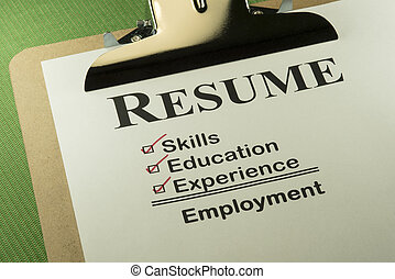 Successful Employment Concept With Resume Checklist -...