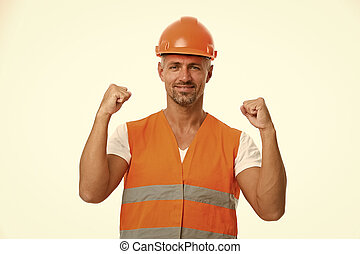 Successful engineer. Man protective hard hat and uniform white background. Worker builder confident and successful. Protective equipment concept. Builder enjoy success. Strong handsome builder