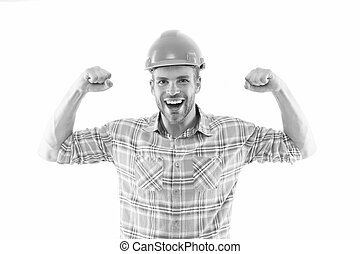 Successful engineer. Strong handsome builder. Man protective helmet and uniform white background. Worker builder confident and successful. Protective equipment concept. Builder enjoy success