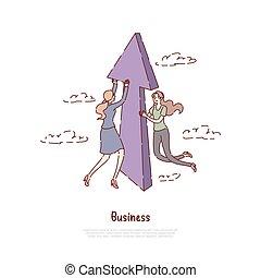 Successful entrepreneurship, progress, business development metaphor, job, promotion,coworking banner