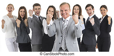 Successful excited business people